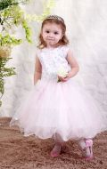 Платье бальное бело-розовый фатин;Артикул М32