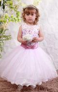 Платье бальное бело-розовый гипюр; Артикул М86