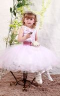 Платье бальное бело-розовый гипюр;Артикул М86