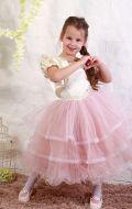 Платье бальное бежево-пудровое фатин;Артикул М87