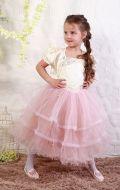 Платье бальное бежево-пудровое фатин; Артикул М87