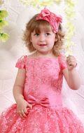 Платье бальное коралловый гипюр; Артикул СМ161
