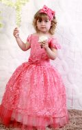 Платье бальное коралловый гипюр;Артикул СМ161