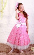 Платье бальное бело-розовый узор;Артикул СМ152