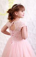 Платье бальное пудровый фатин Артикул СМ 117