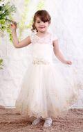 Платье бальное бежево-золот.гипюр; Артикул М91