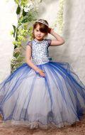 Платье бальное бело-синее;Артикул СМ175