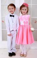 Платье бальное ярко розовое; Артикул М72 и белый желет и брюки;Артикул Ф3