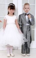 Платье бальное бежевое гипюр;Артикул М 85 и Серебренный фрак ;Артикул Ф16