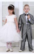 Платье бальное бежевый гипюр; Артикул М85 и Серебренный фрак Артикул Ф16