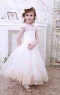 Платье бальное бежево-золот.гипюр;Артикул М91