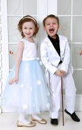 Платье бальное бело-голубой фатин; Артикул М81 и Белый фрак Артикул Ф13