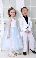 Платье бальное бело-голубой фатин;Артикул М81 и Белый фрак Артикул Ф13