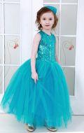 Платье бальное голубые  паетки;Артикул Ф27