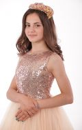 Платье бальное кремовый фатин паетки;Артикул Ф30