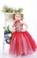 Платье бальное бордово-бежевый фатин;Артикул СМ34