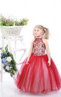 Платье бальное бордово-бежевый фатин; Артикул СМ34