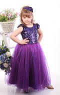 Платье бальное фиолетовый фатин паетки;Артикул Ф31