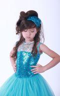 Платье бальное ярко голубое фатин паетки;Артикул СМ103