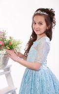 Платье бальное голубое кружево;Артикул Б71