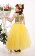 Платье бальное желтое фатин паетки;Артикул Ф41