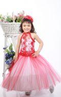 Платье бальное бело-красное кружево; Артикул СМ54