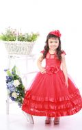 Платье бальное красная атлас лента; Артикул СМ154