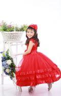 Платье бальное красная атлас лента;Артикул СМ154