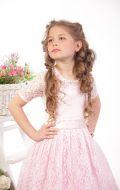 Платье бальное розовое кружево;Артикул Б72