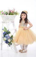 Платье бальное золотой фатин паетки;Артикул Ф18