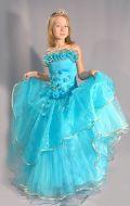 Бальное платье голубая жатка; Артикул Б19