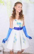 Платье коктейльное с синими цветами; Артикул БК24
