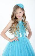 Платье бальное голубое фатин паетки; Артикул Ф 28