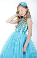 Платье бальное голубой фатин; Артикул Ф28