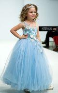 Платье бальное голубое с цветами; Артикул СМ188