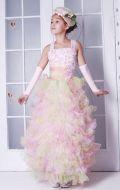 Платье бальное розово-салатовые воланы; Артикул В26