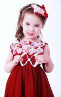 Платье бальное бордовое с кружевом; Артикул М71