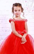 Платье бальное красное со стразами; Артикул М58