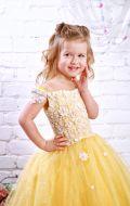 Платье бальное желтое с цветами; Артикул СМ191
