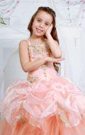 Платье бальное персиковое ярус; Артикул СМ118
