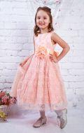 Платье бальное из персикового гипюра; Артикул СМ66