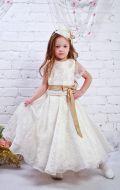 Платье бальное молочное с бантом; Артикул СМ141
