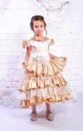 Платье бальное золотисто-бежевое с воланами; Артикул СМ140