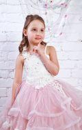 Платье бальное с пудровым фатином; Артикул М88