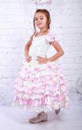 Платье бежевое с розовыми воланами; Артикул СМ157