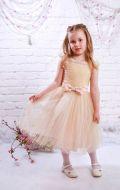 Платье бальное бежевое со стразами; Артикул М57