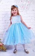 Платье бальное голубое с вышивкой; Артикул М92