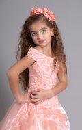 Бальное платье персиковое вышивка; Артикул Б44