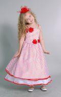 Бальное платье белое в красный горох; Артикул Ст7