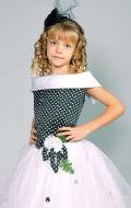Бальное платье черно-белое в горох; Артикул Б39